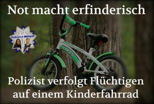 Verfolgungsfahrt auf Kinderfahrrad