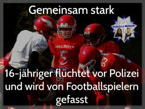 16-jähriger flüchtet vor Polizei und wird von Footballspielern gefasst