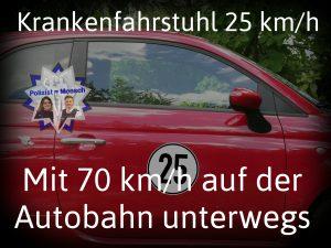 Krankenfahrstuhl (25 km/h) mit 70 km/h auf der Autobahn unterwegs