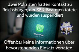 Zwei Polizisten hatten Kontakt zu Reichsbürger, der SEK-Beamten tötete, und wurden suspendiert