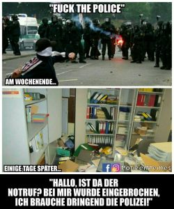 Polizei-Meme Linksextremisten
