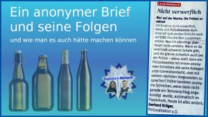 Alkohol auf der Wache gefunden: Ein anonymer Brief und seine Folgen