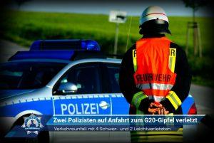 Zwei Polizisten auf Anfahrt zum G20-Gipfel verletzt