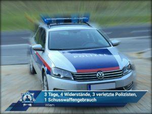 Wien: 3 Tage, 4 Widerstände, 3 verletzte Polizisten, 1 Schusswaffengebrauch