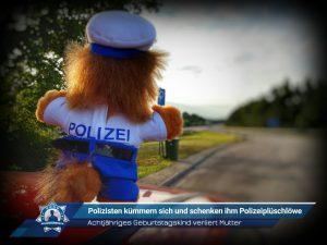 Achtjähriges Geburtstagskind verliert Mutter: Polizisten kümmern sich und schenken ihm Polizeiplüschlöwe