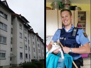 """Polizeilicher """"Rettungseimer"""" bringt Kätzchen vom Dach"""