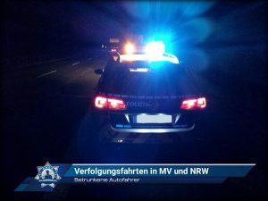 Betrunkene Autofahrer: Verfolgungsfahrten in Mecklenburg-Vorpommern und Nordrhein-Westfalen