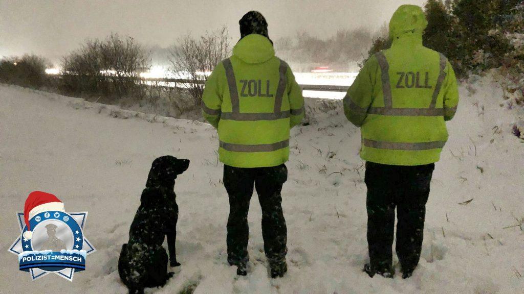 Verschneiter Gruß von Zollhund Elvis und seinen Kollegen