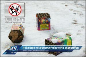 Schwerer Landfriedensbruch: Polizisten mit Feuerwerksbatterie angegriffen