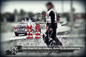 Gedanken von Nico mit Diensthund Odin: Mein Mitgefühl dem Kollegen und danke für die Anerkennung