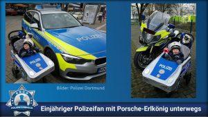 Einjähriger Polizeifan mit Porsche-Erlkönig unterwegs