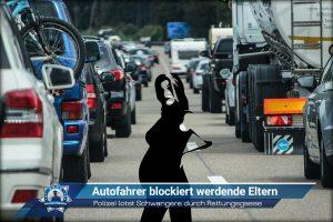 Polizei lotst Schwangere durch Rettungsgasse: Autofahrer blockiert werdende Eltern