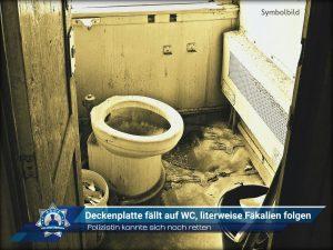 Polizistin konnte sich noch retten: Deckenplatte fällt auf WC, literweise Fäkalien folgen