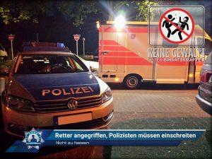 Nicht zu fassen: Retter angegriffen, Polizisten müssen einschreiten