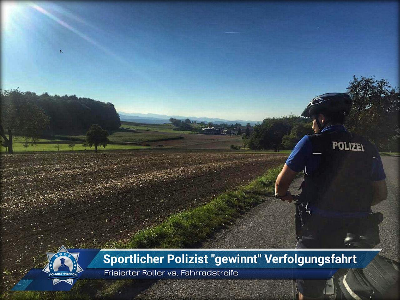 Frisierter Roller vs Fahrradstreife Sportlicher Polizist