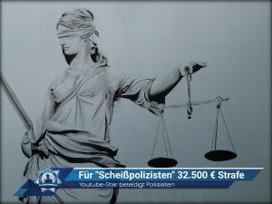 """Youtube-Star beleidigt Polizisten: Für """"Scheißpolizisten"""" 32.500 Euro Strafe"""