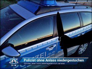 Schwer, aber nicht lebensgefährlich verletzt: Polizist ohne Anlass niedergestochen