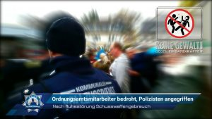 Nach Ruhestörung Schusswaffengebrauch: Ordnungsamtsmitarbeiter bedroht, Polizisten angegriffen
