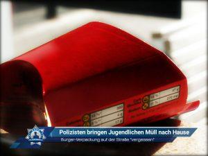 """Burger-Verpackung auf der Straße """"vergessen"""": Polizisten bringen Jugendlichen Müll nach Hause"""