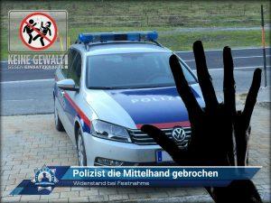Widerstand bei Festnahme: Polizist die Mittelhand gebrochen