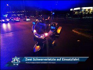 Motorradpolizist kollidiert mit Auto: Zwei Schwerverletzte auf Einsatzfahrt