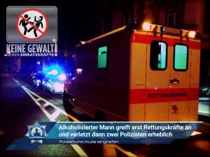 Polizeihund muss eingreifen: Alkoholisierter Mann greift erst Rettungskräfte an und verletzt dann zwei Polizisten erheblich