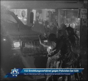 Kaum Bereitschaft zur Zusammenarbeit mit Polizei: 152 Ermittlungsverfahren gegen Polizisten bei G20