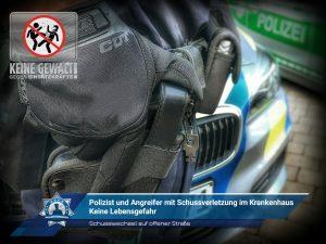 Schusswechsel auf offener Straße: Polizist und Angreifer mit Schussverletzung im Krankenhaus