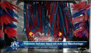 Nicht nur sauber, sondern blitzblank: Polizisten retten Mann mit Auto aus Waschanlage