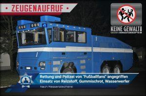 """+ Zeugenaufruf + Nach Messerstecherei: Rettung und Polizei von """"Fußballfans"""" mit Flaschen und Steinen angegriffen"""