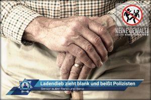 Senior außer Rand und Band: Ladendieb zieht blank und beißt Polizisten