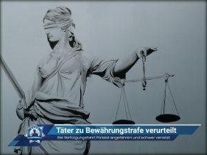 Bei Verfolgungsfahrt Polizist angefahren und schwer verletzt: Täter zu Bewährungsstrafe verurteilt