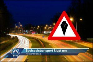 Vorsicht Glatteis: Speiseeistransport kippt um