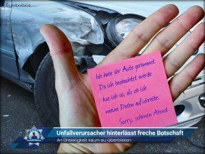 An Dreistigkeit kaum zu überbieten: Unfallverursacher hinterlässt freche Botschaft