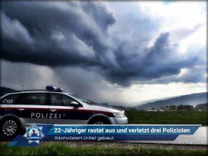 Alkoholisiert Unfall gebaut: 22-Jähriger rastet aus und verletzt drei Polizisten