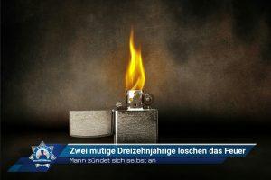 Mann zündet sich selbst an: Zwei mutige Dreizehnjährige löschen das Feuer