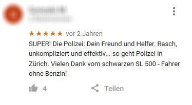 Google-Bewertungen für die Schweizer Polizei
