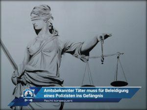 Recht konsequent: Amtsbekannter Täter muss für Beleidigung eines Polizisten ins Gefängnis