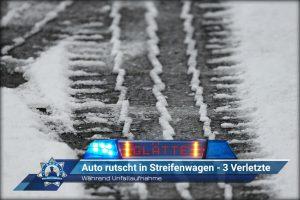 Während Unfallaufnahme: Auto rutscht in Streifenwagen - 3 Verletzte