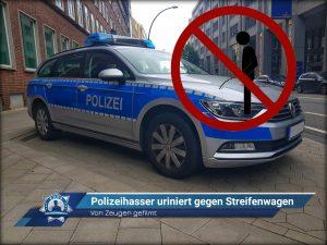 Von Zeugen gefilmt: Polizeihasser uriniert gegen Streifenwagen
