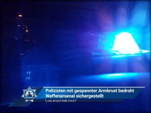 """""""Los erschieß mich"""": Polizisten mit gespannter Armbrust bedroht - Waffenarsenal sichergestellt"""