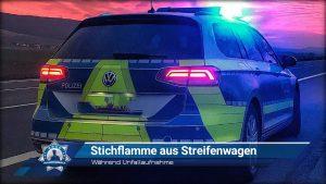Während Unfallaufnahme: Stichflamme aus Streifenwagen