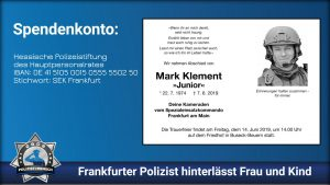 Spendenkonto: Frankfurter Polizist hinterlässt Frau und Kind