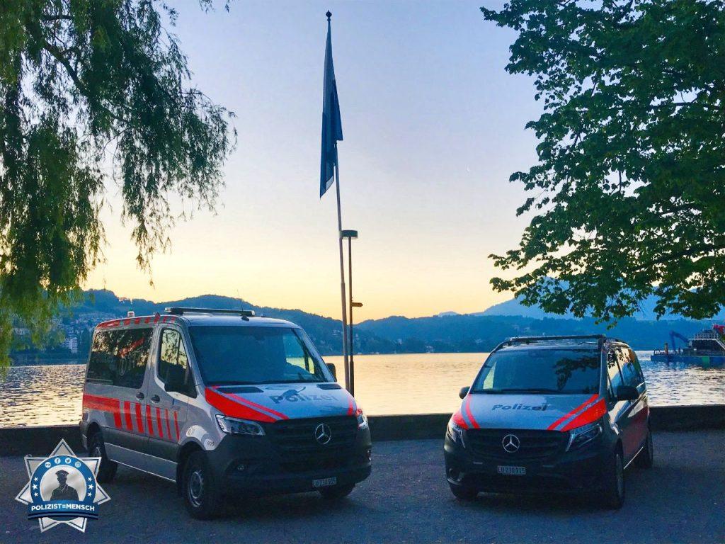 """""""Liebe Grüsse von der Luzerner Polizei nach dem Nachtdienst. Im Hintergrund der Vierwaldstättersee und das Luzerner Seebecken. Stay safe! Pascal"""""""