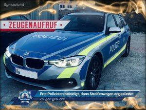 Zeugenaufruf: Erst Polizisten beleidigt, dann Streifenwagen angezündet
