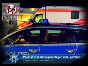 Gewaltexzess auf Halloweenparty: Polizist zusammengeschlagen und -getreten