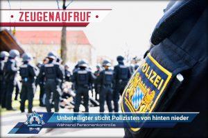Während Personenkontrolle: Unbeteiligter sticht Polizisten von hinten nieder