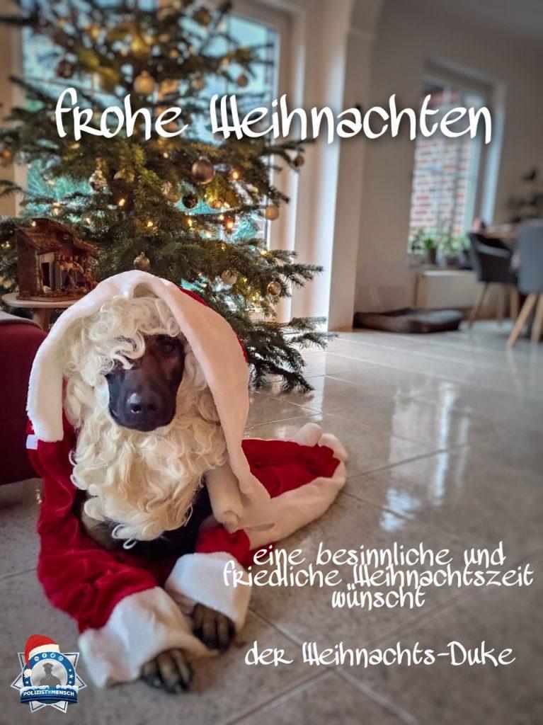 Auch Diensthund Duke wünscht frohe Weihnachten und hat sich gleich mal in Schale geworfen