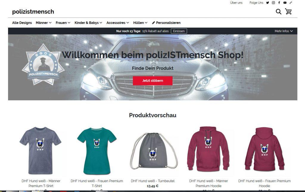 Polizist=Mensch Onlineshop