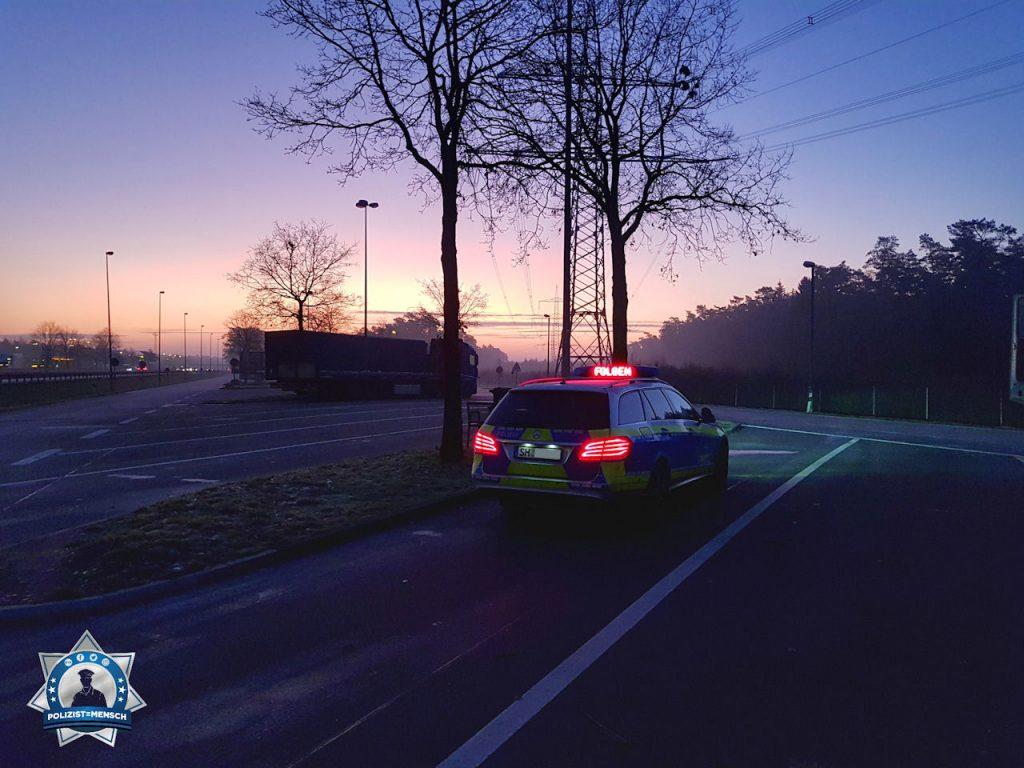 """""""Moin aus Schleswig-Holstein vom Sonnenaufgang im Frühdienst auf dem Rastplatz Gudow, A24, Richtung Berlin. Grüße von der Autobahnpolizei Ratzeburg, Sebastian"""""""